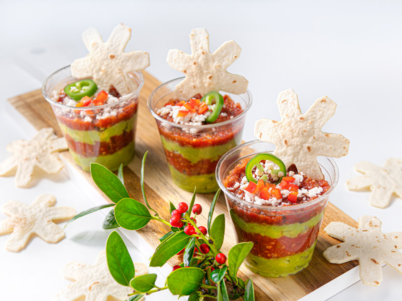 Mini Holiday Layered Dip Cups | Christmas Snacks | ¡Yo Quiero!™️ Brands